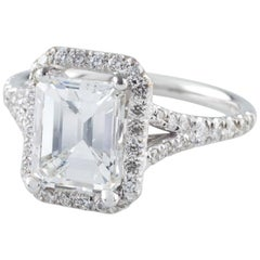 GIA Certified Gold 1.94 Carat Emerald Cut Diamond Solitaire Ring with Accents