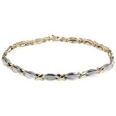 White and Yellow Gold Diamond Station XO Necklace TDW 10 Carat