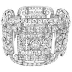 Art Deco Style Platinum 41.2 Carat Diamond Bracelet