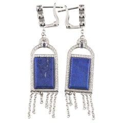 Badgley Mischka White Gold Diamond, Iolite, Blue Lapis Earrings