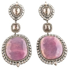 Gold Rhodium Oxidized Ruby with Single and Rose Cut Diamond Dangle Earrings