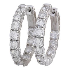 3.50 Carat Natural Diamond 18 Karat Solid White Gold Hoop Earrings
