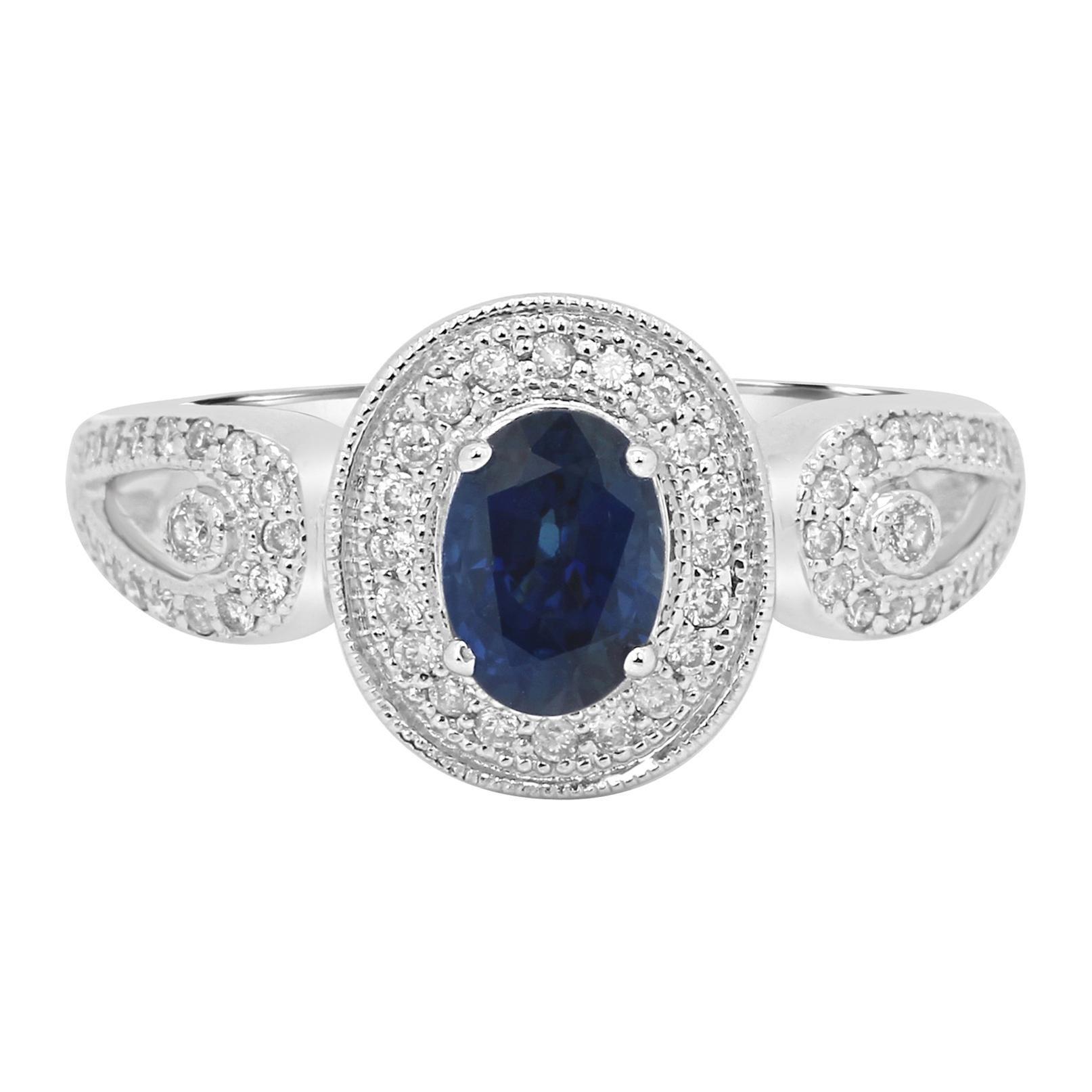Blue Sapphire Oval Round White Diamond Halo Gold Fashion Bridal Ring