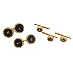 Tiffany & Co. Onyx Gold Button Cufflinks Studs Set