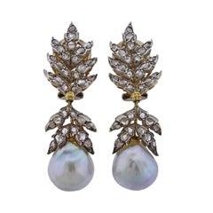 Buccellati Rose Cut Diamond Pearl Gold Silver Earrings