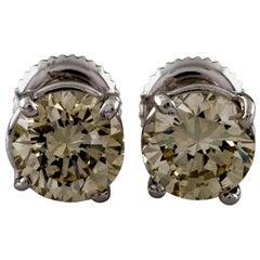 "White Gold 2.03 Carat ""Champagne"" Diamond Stud Screwback Earrings"