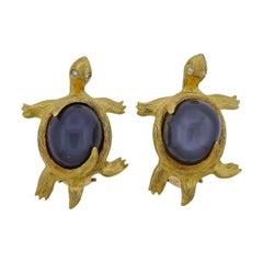 Henry Dunay Grey Moonstone Diamond Gold Platinum Turtle Earrings