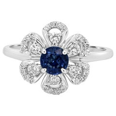 Blue Sapphire Round White Diamond Halo Gold Fashion Cocktail Flower Ring