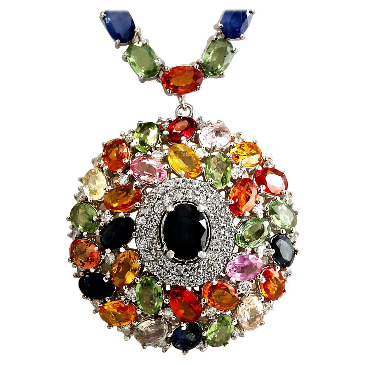 56.60 Carat Ceylon Sapphire 18K Solid Gold Medallion Diamond Necklace