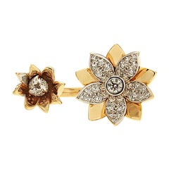 Valentin Magro Floral Between the Finger Ring with Diamonds