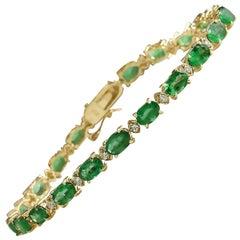 8.90 Carat Natural Emerald 14 Karat Solid Yellow Gold Diamond Bracelet