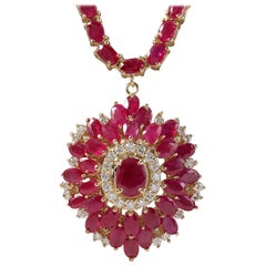 35.62 Carat Natural Ruby 18 Karat Solid Yellow Gold Diamond Necklace