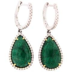 8.79 Carat Rose Cut Emerald and Diamond Earring