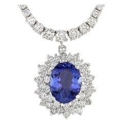 12.13 Carat Natural Blue Tanzanite 18 Karat Solid White Gold Diamond Necklace