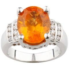 AIG Certified White Gold 8.16 Carat Spessartite Garnet and Diamond Ring