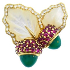 Dior Yellow Gold Acorn Pin Brooch Clip Pendant Chrysoprase Rubelite Diamond MOP