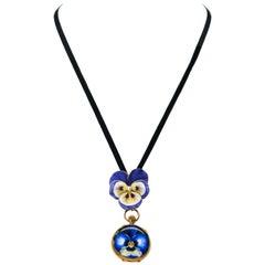 Late 19th Century Art Nouveau Diamond Enamel Pansy Brooch Pin Pendant Necklace