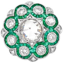 Platinum, Diamond and Emerald Ring