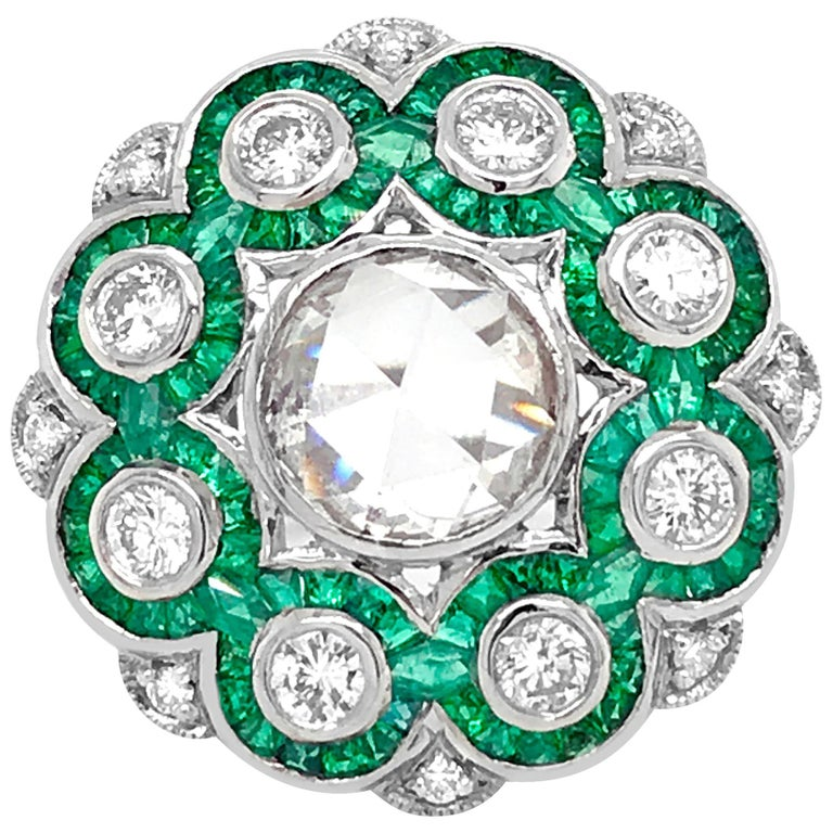 Platinum, Diamond and Emerald Ring For Sale