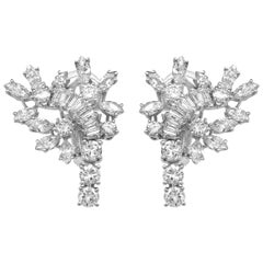 18 Karat Cluster Diamond Earrings