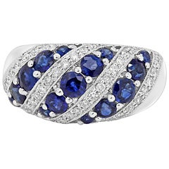 Blue Sapphire Round White Diamond Fashion Cocktail Gold Dome Band Ring