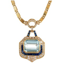 34.60 Carat Aquamarine, Sapphire and Diamond Pendant