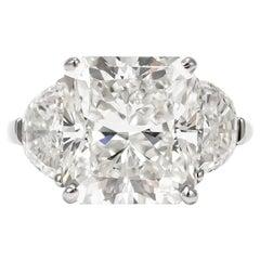 J. Birnbach GIA Certified 7.83 Carat Radiant Diamond Three-Stone Ring