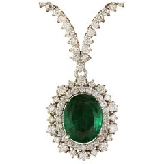 9.45 Carat Natural Emerald 18 Karat Solid White Gold Diamond Necklace