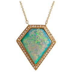 4.81 Carat Opal and Diamond Cluster Pendant