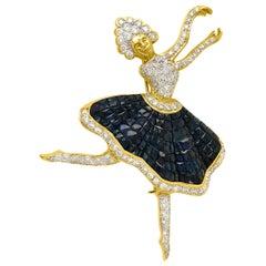 18 Karat Gold Diamond and Sapphire Ballerina Brooch