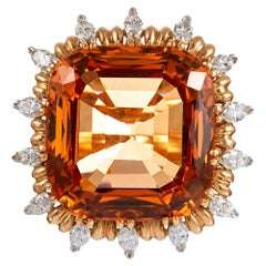 "45.91 Carat ""No Heat"" Topaz and Diamond Cluster ""Ring-Dent"", signed ""EJ Cooper"""
