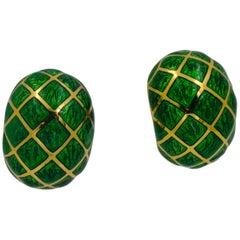 David Webb 18 Karat Yellow Gold Green Enamel Dome Earrings