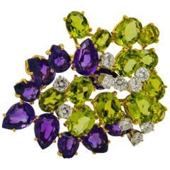 18 Karat Yellow Gold Peridot, Amythest and Diamond Fancy Cluster Brooch