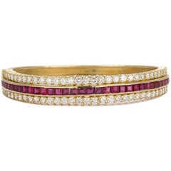 Hammerman Brothers Vintage 18 Karat Yellow Gold, Diamond and Ruby Bangle