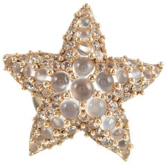 "White Topaz and Moonstone Starfish Ring, Signed ""Pomellato"""