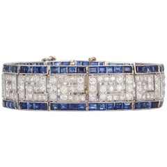 Vintage 1920s French Art Deco Greek Key Platinum, Diamond and Sapphire Bracelet