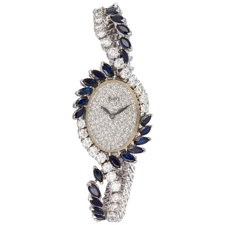 Piaget Vintage 1950s Platinum Diamond and Sapphire Ladies Watch For Sale