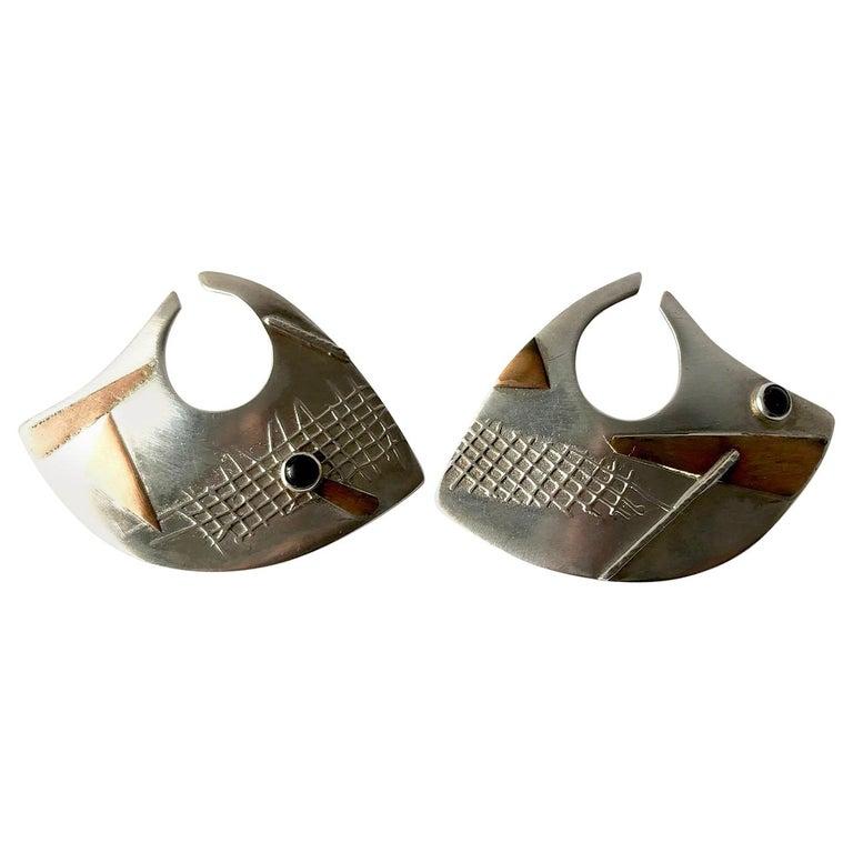 Enid Kaplan Onyx Sterling Silver Gold Brass Married Metals Earrings For Sale