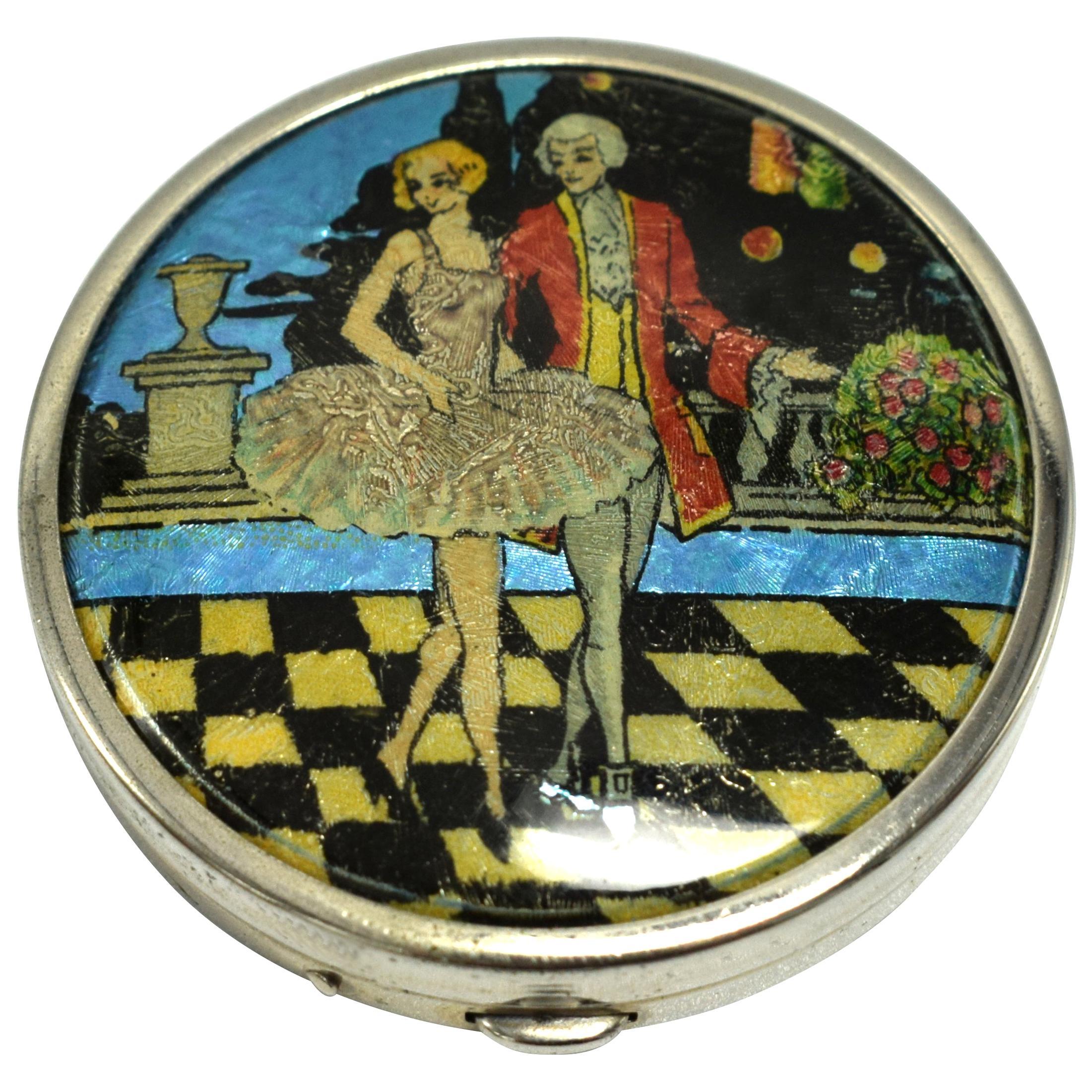 Art Deco Foil Ladies Powder Compact, 1930s