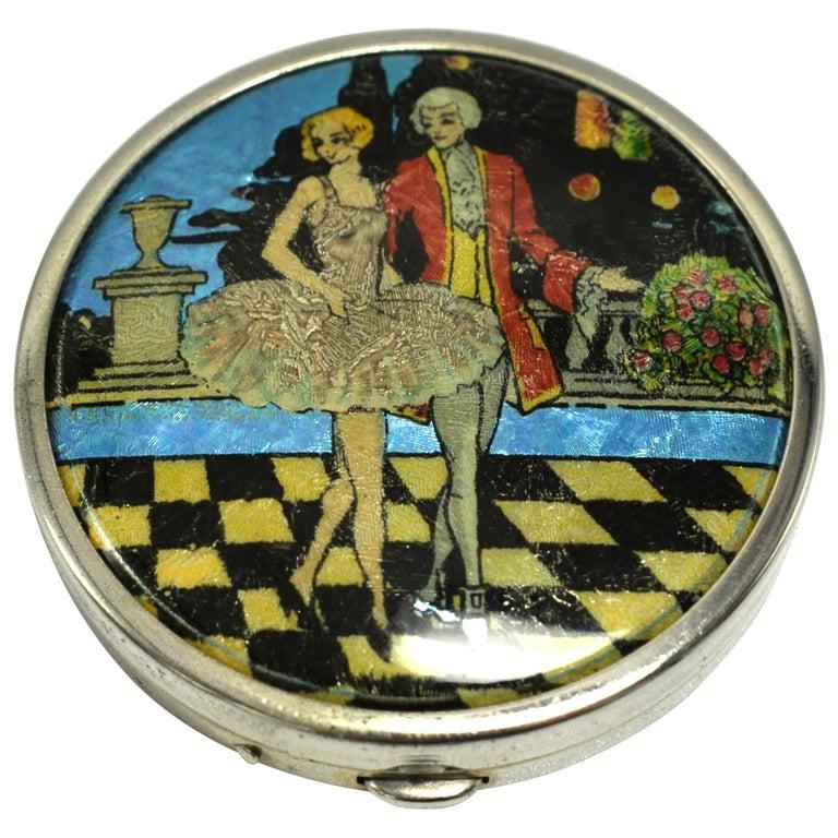 Art Deco Foil Ladies Powder Compact, 1930s For Sale