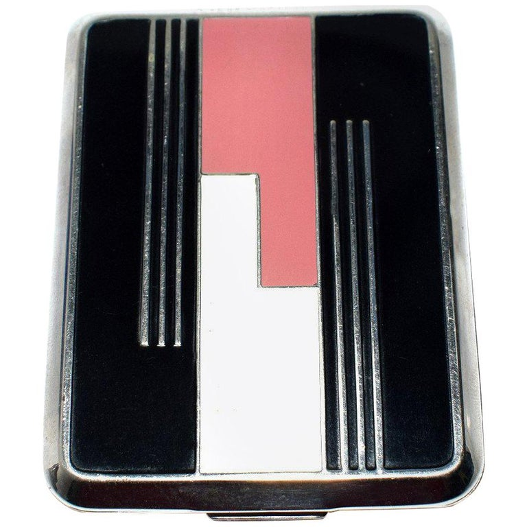 Art Deco Geometric Ladies Powder Compact Du Barry For Sale