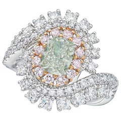 GIA Certified 1.18 Carat Light Green Diamond Ring
