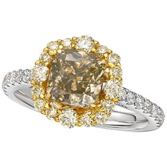 GIA Certified 2.01 Carat Fancy Dark Gray-Yellowish Green Diamond Ring