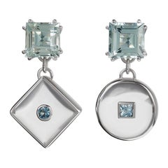 18 Carat White Gold, Rock Crystal and Aquamarine Drop Earrings