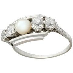 Antique 1940s Pearl and 1.02 Carat Diamond Platinum Cocktail Ring