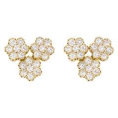 Jona White Diamond Flower 18 Karat White Gold Stud Earrings