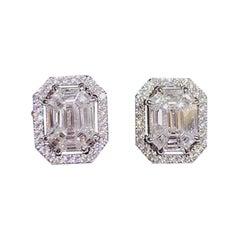 Illusion Emerald Cut White Diamond Jacket Earring