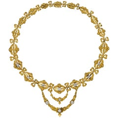 Belle Époque Diamond Gold Rose Garland Bow Necklace