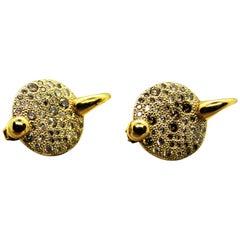 Pomellato Italy Yellow 18 Karat Gold Diamonds 1.00 Carat Earrings