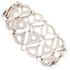 Chopard 18 Karat White Gold Cultured Pearl & Diamond Bracelet